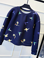 Dámské Jednoduché Jdeme ven Mikina Tisk Výšivka Kulatý Lehce elastické Polyester Podzim Dlouhý rukáv