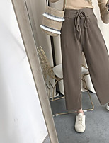 Women's High Rise Micro-elastic Chinos Pants Wide Leg Solid