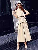 Для женщин На каждый день Офис Рубашка Брюки Костюмы Воротник-стойка,просто Уличный стиль Однотонный