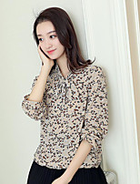 Women's Casual/Daily Simple Spring Summer Blouse,Floral Shirt Collar Long Sleeve Others Thin