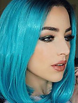 Fashional Ombre Blue Wig Synthetic Middle Length Straight Bobo Wig For Balck Women Wig.
