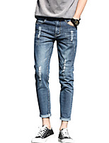 Men's Mid Rise Micro-elastic Jeans PantsSimple Slim Ripped Tassel Solid ACD-A167