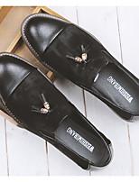 Черный Темно-русый-Для мужчин-Повседневный-Кожа ПолиуретанУдобная обувь Формальная обувь-Туфли на шнуровке