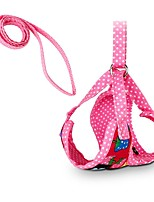 Cute Strawberry Dots Dog Harness with 120cm Leash Black Red Rose Pet Products