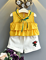 Girls' Casual/Daily Print Sets,Cotton Rayon Summer Short Sleeve Clothing Set