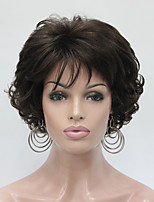 New Wavy Curly Chestnut Brown Short Synthetic Hair Full Women's Thick  Wigs For Everyday