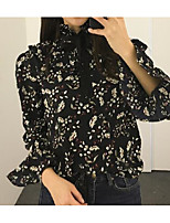 Women's Going out Cute Blouse,Floral Asymmetrical Long Sleeve Polyester