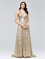 TS Couture Formal Evening Dress - Sparkle & Shine Beautiful Back Sheath / Column V-neck Sweep / Brush Train Sequined with Ruching
