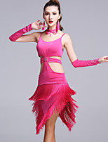 Latin Dance Dresses Women's Performance Viscose Tassel(s) Crystals/Rhinestones 5 Pieces Sleeveless Natural Dress/Gloves/Neckwear/Shorts