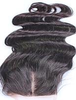 Кружева закрытия 10-18 перуанских виргинских волос бесплатно часть 100% человеческого волоса естественного цвета 4x4