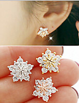 Stud Earrings Crystal Flower Style Chrome Jewelry For Wedding Special Occasion Engagement 1 pair