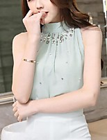 Women's Casual/Daily Simple Spring Fall Blouse,Solid Crew Neck Sleeveless Polyester Sheer