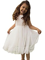Ball Gown Short / Mini Flower Girl Dress - Organza Jewel with Lace Ruching Pleats