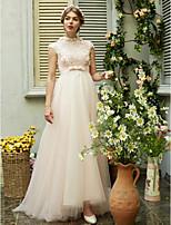 LAN TING BRIDE A-linje Bryllupskjole - Chic og moderne Smuk ryg Børsteslæb Højhalset Tyl med Perler Sløjfe Blomst Bælte / bånd Paillette