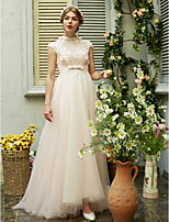 LAN TING BRIDE A-라인 웨딩 드레스 - 쉬크&모던 아름다운 뒤태 스윕 / 브러쉬 트레인 하이 넥 튤 와 허리끈 / 리본 스팽글 비즈 리본 꽃장식