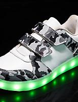 Белый Черный Серый-Мальчики-Для прогулок Повседневный Для занятий спортом-Полиуретан-На плоской подошве-Оригинальная обувь Light Up обувь