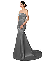 Formal Evening Dress Trumpet / Mermaid Sweetheart Court Train Satin with Beading