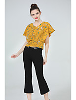 ZIYI Women's Casual/Daily Simple Summer T-shirt Pant SuitsPrint V Neck Cropped Pant Inelastic