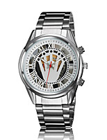Men's Sport Watch Quartz Alloy Band Silver