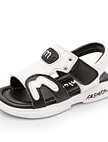 Girls' Sandals Summer Comfort Cowhide Casual Flat Heel Black White