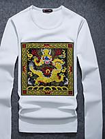 Men's Sports Sweatshirt Leopard Round Neck Micro-elastic Cotton