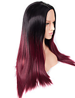 Long Black To Red Ombre Color Straight Wig African American Heat Resistant Synthetic Wig 24 inch