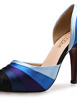 Damen Sandalen Club-Schuhe Kunststoff Seide Stoff Sommer Herbst Hochzeit Kleid Stöckelabsatz Blau 10 - 12 cm