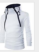Sweatshirt Homme Sportif simple Couleur Pleine Col Arrondi Doublure Amovible Micro-élastique Coton Printemps