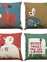 Set of 4 Cartoon Elephant Pattern  Linen Pillowcase Sofa Home Decor Cushion Cover