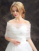 Women's Wedding Wrap Capelets Sleeveless Lace Tulle Wedding Party/Evening Flower(s) Lace Grace Bride Shawl White Off-the-shoulder