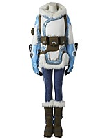 Inspired by Overwatch Video Game Cosplay Costumes Cosplay Suits Polka Dot White Blue Long Sleeve Coat Pants Headpiece Gloves Belt