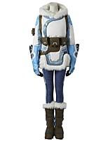 קיבל השראה מ Overwatch Ace וִידֵאוֹ מִשְׂחָק תחפושות קוספליי חליפות קוספליי מנוקד לבן כחול שרוולים ארוכיםמעיל מכנסיים אביזר לשיער כפפות