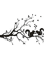 Wall Stickers Wall Decals Style Squirrel Branches Play on The Branches PVC Wall Stickers