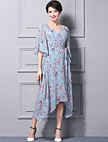 Для женщин Пляж Очаровательный Шифон Платье Цветочный принт,V-образный вырез Средней длины Рукав ½ Полиэстер Лето С высокой талией