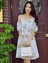 DABUWAWA Women's Going out Beach Holiday Cute Street chic Sophisticated Shift Sheath Chiffon DressFloral Color Block V Neck Above Knee Short
