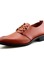 -Для мужчин-Свадьба Для офиса Повседневный Для вечеринки / ужина-Кожа-На плоской подошве-Удобная обувь Формальная обувь-Туфли на шнуровке