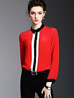 Women's Going out Casual/Daily Simple Boho Spring Summer Shirt,Color Block Shirt Collar Long Sleeve Silk Opaque