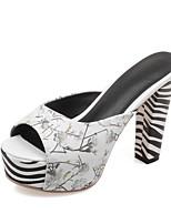 Women's Slippers & Flip-Flops Summer Fall Slingback PU Dress Casual Chunky Heel Animal Print Blushing Pink Blue Black White