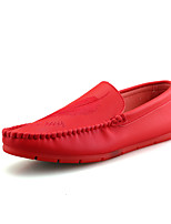 Men's Loafers & Slip-Ons Spring Fall Moccasin Comfort Leatherette Casual Red Black White