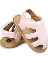 Kids' Sandals Summer First Walkers PU Casual Flat Heel Blushing Pink Gray White
