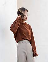 Women's Casual/Daily Simple Shirt,Solid Stand Long Sleeve Polyester