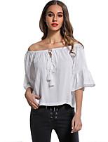 Для женщин На каждый день Рубашка С открытыми плечами,Простое Однотонный Полоски С короткими рукавами,Полиэстер