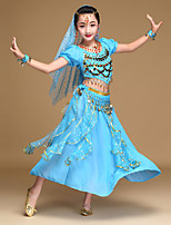 Belly Dance Outfits Kid's Performance Chiffon Spandex Sequined Coins Sequins 5 Pieces Short Sleeve NaturalTop Skirt Headpieces Veil Hip
