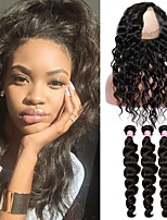 Instock Virgin Malaysian Curly Hair With Closure 360 Lace Frontal With Bundle Loose Wave Human Hair With Closure Fast Shipping