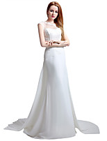 Sheath / Column Wedding Dress Court Train Jewel Chiffon with Lace