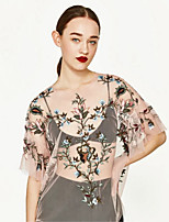 Women's Casual/Daily Sexy Spring Summer T-shirt,Embroidered Round Neck ½ Length Sleeve Polyester Thin