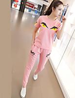 Damen einfarbig Tiermuster Druck Niedlich Street Schick Lässig/Alltäglich Urlaub T-Shirt-Ärmel Hose Anzüge,Rundhalsausschnitt