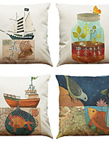 Set of 4 Small Fish Sailboat Pattern  Linen Pillowcase Sofa Home Decor Cushion Cover