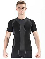 Homme Manches courtes Course / Running Respirable Confortable Eté Vêtements de sport Pilates Polyester Couleur Pleine