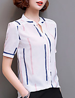 Women's Going out Casual/Daily Vintage Simple Summer Fall Blouse,Striped Round Neck Short Sleeve Silk Cotton Opaque